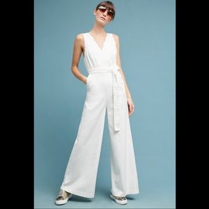 White Chino Anthropologie Jumpsuit - NWT